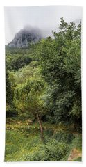 Walking Along The Mountain Path Beach Towel