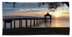 Beach Towel featuring the photograph Walking Bridge To The Gazebo by Rosanne Licciardi