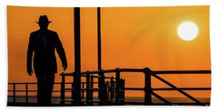 Walking Into The Sunset Beach Towel