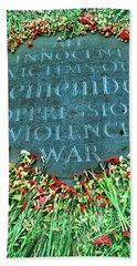 War Memorial Plaque Beach Towel