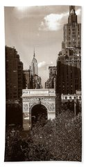 Washington Arch And New York University - Vintage Photo Art Beach Towel