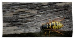 Beach Towel featuring the photograph Wasp On Wood by Scott Lyons