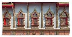 Beach Towel featuring the photograph Wat Chai Mongkon Phra Ubosot Windows Dthlu0398 by Gerry Gantt