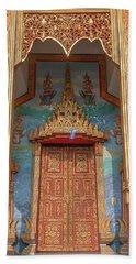 Beach Towel featuring the photograph Wat Nong Tong Phra Wihan Doors Dthcm2642 by Gerry Gantt