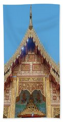 Beach Towel featuring the photograph Wat Nong Tong Phra Wihan Gable Dthcm2640 by Gerry Gantt