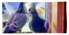 Watchful Homing Pigeons Fibers Beach Towel