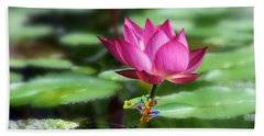 Water Lily And Little Frog Beach Towel