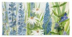 Watercolor Blue Flowers Beach Towel