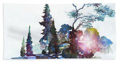 Watercolor Forest And Pond Beach Towel