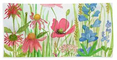 Watercolor Touch Of Blue Flowers Beach Towel