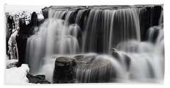 Waterfall And Snow Beach Towel