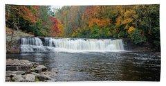 Waterfall In Autumn Beach Towel