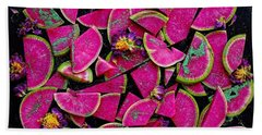 Watermelon Radish Edges Beach Towel