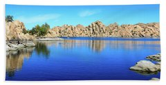 Watson Lake And Rock Formations Beach Towel