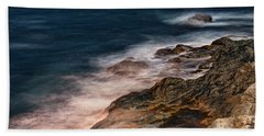 Beach Towel featuring the photograph Waves And Rocks At Sozopol Town by Milan Ljubisavljevic