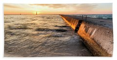 Waves And Sunset In Frankfort Beach Towel