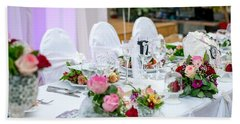 Beach Towel featuring the photograph Wedding Table by Top Wallpapers