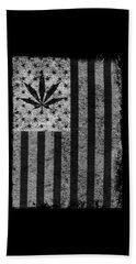 Weed Leaf American Flag Us Beach Towel