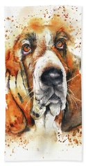 Beach Towel featuring the painting Wet Basset by Peter Williams