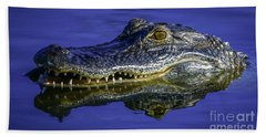 Beach Towel featuring the photograph Wetlands Gator Close-up by Tom Claud