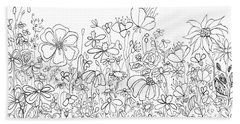 Whimsical Flower Garden, Line Art Doodles Beach Towel