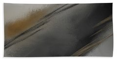 Whispered - Gray And Taupe Abstract Art Beach Towel