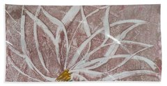 White Abstract Floral On Silverpastel Pink Beach Towel