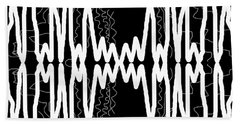 White And Black Frequency Mirror Beach Towel