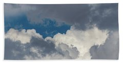 White And Gray Clouds Beach Towel