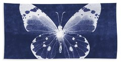 White And Indigo Butterfly 1- Art By Linda Woods Beach Towel