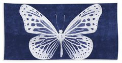White And Indigo Butterfly- Art By Linda Woods Beach Towel