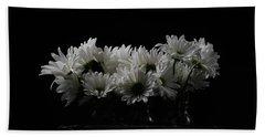 White Daisy Flowers Black Background Beach Towel