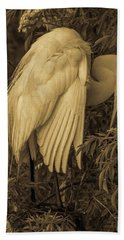 White Egret In Tree Beach Towel