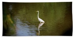 Beach Towel featuring the photograph White Egret In Water by Lora J Wilson