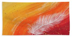 White Feather With Orange Wave Beach Towel