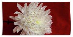 White Flower On Red-1 Beach Sheet