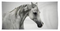 Beach Sheet featuring the photograph White Horse Winter Mist Portrait by Dimitar Hristov