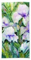 White Iris Spring Garden Beach Towel