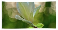 White Magnolia Beach Towel