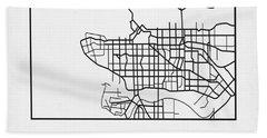 White Map Of Vancouver Beach Towel