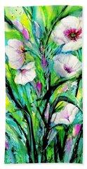 White Poppy Flowers Beach Towel