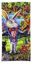 White Rabbit Alice In Wonderland Beach Sheet