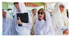 White Robed Bards At The Welsh National Eisteddfod Beach Towel