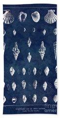 White Shells On Blue Beach Towel