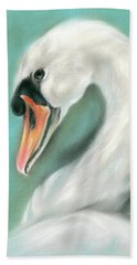 Beach Towel featuring the pastel White Swan Portrait by MM Anderson