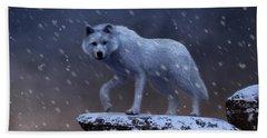 White Wolf In A Blizzard Beach Towel