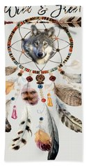Beach Towel featuring the mixed media Wild And Free Wolf Spirit Dreamcatcher by Georgeta Blanaru