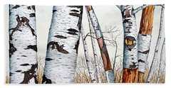 Wild Birch Trees In The Forest In Watercolor Beach Sheet