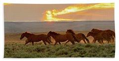 Wild Horses At Dusk Beach Towel