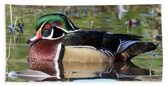 Wild Wood Duck On The Old Mill Pond  Beach Sheet